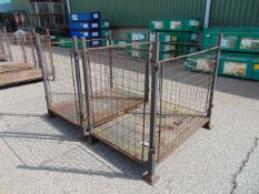 2 x Heavy Duty Ex Home Office Metal Stackable / Collapsible Stillage / Post Pallets