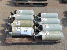 8 x Sabre Carbon Fibre Breathing Apparatus Cylinders c/w Cylinder Valves
