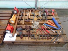 Mixed Tools Inc Hammers, Pick Axe, Air Tools, Tent Pegs, Bardic Lights, Padlocks etc etc