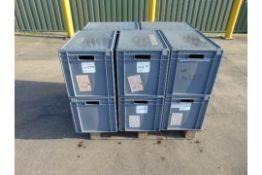 10 x Standard MoD Stackable Storage Boxes c/w Lids. Dimensions 60x40x40cm