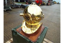 Replica Full Size U.S. Navy Mark V Brass Diving Helmet on Wooden Display Stand