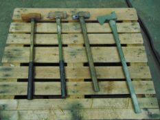 3 x Heavy Duty Sledge Hammers and 1 x Axe