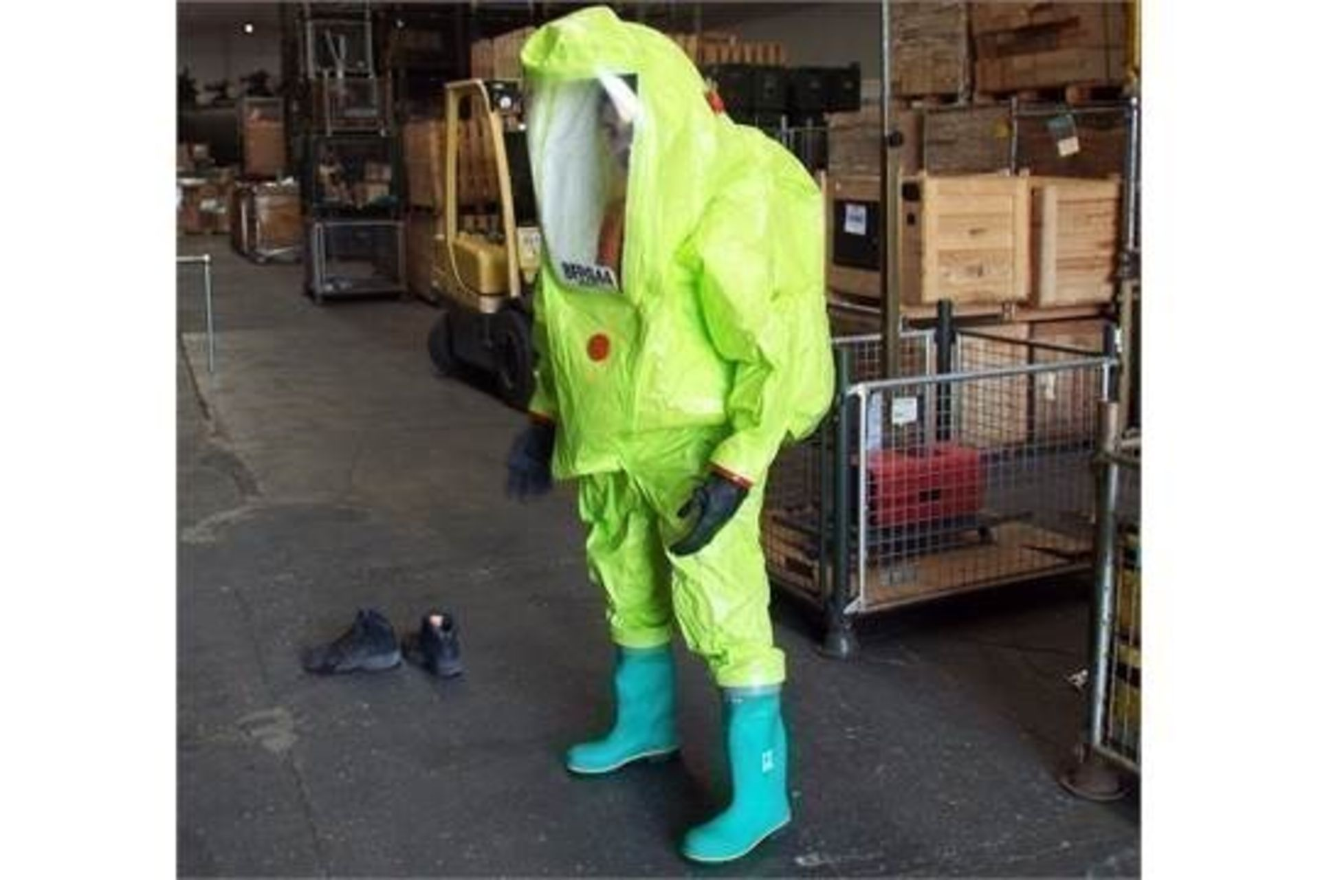 Lot 349 - 1 x Unissued Respirex Tychem TK Gas-Tight Hazmat Suit Type 1A with Attached Boots and Gloves. Medium