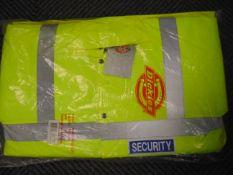 UNISSUED Hi Visibility Florescent SECURITY Jacket. Size Medium.