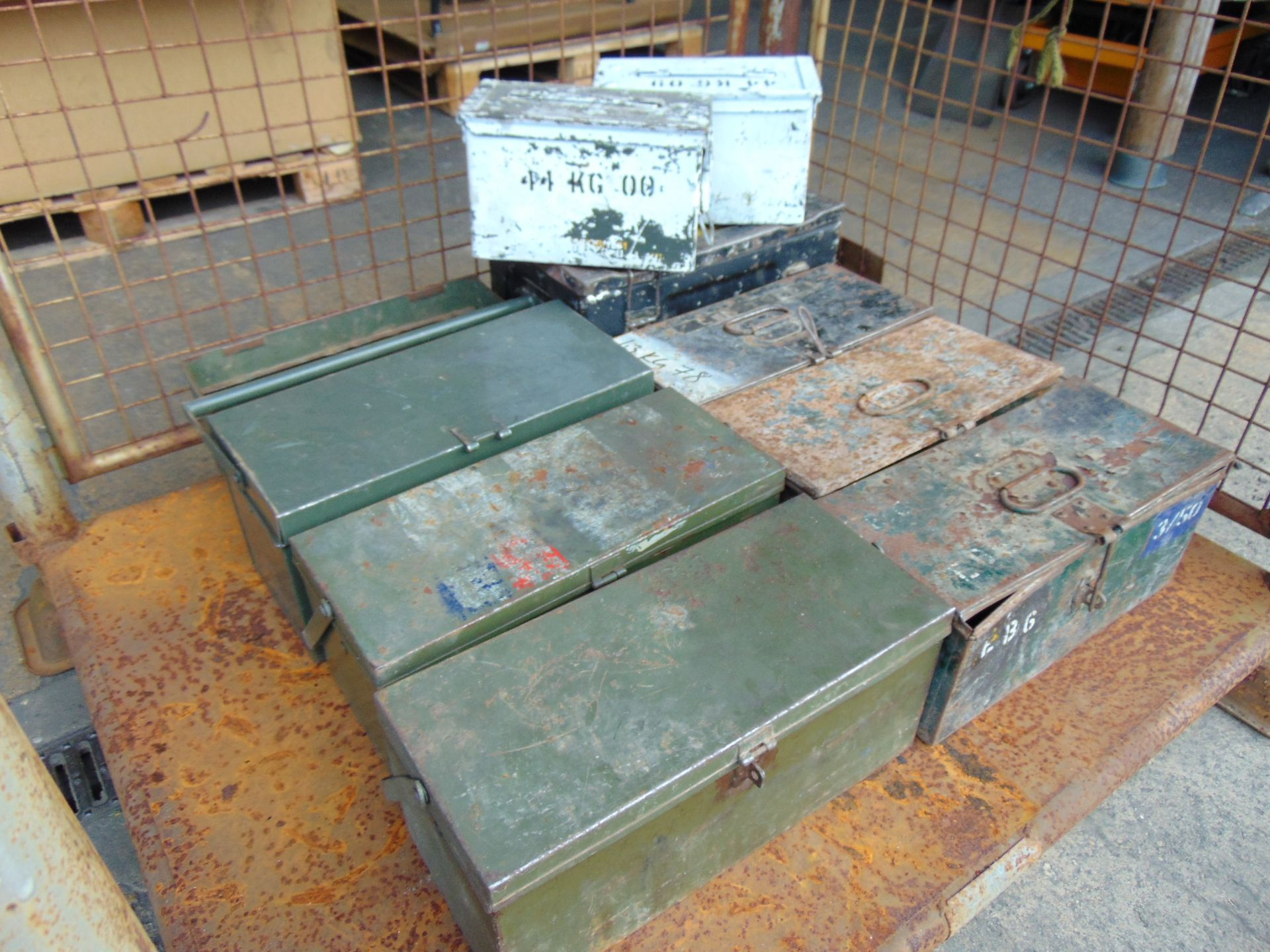 Lot 340 - Stillage Of Mixed Tool Boxes And Ammo Tins.