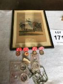 Old Military Picture, 4 x Soviet Medals and Ribbons and 3 x Silva Compass