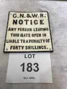 Unissued GN and WR Cast Iron Railway Sign