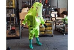 3 x Unissued Respirex Tychem TK Gas-Tight Hazmat Suit Type 1A with Attached Boots & Glove. M, L & XL