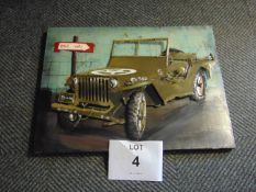 3D WW2 WILLYS JEEP PICTURE IN METAL 80 CM x 60CM