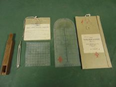 VERY RARE WW2 PILOTS A.M. PROTRACTOR, PLOTTER AND COMPASS/DIVIDERS IN ORIGINAL CASE