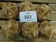 6X BRITISH ARMY MK 6 COMBAT HELMETS WITH DESERT COVERS