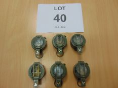 6x BRITISH ARMY STANLEY BRASS CASE PRISMATIC MARCHING COMPASS.