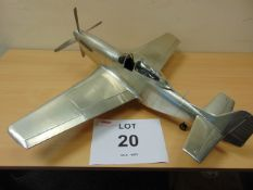 SUPERB SCALE MODEL OF A P51 MUSTANG Build to a high quality in aluminum sheet over a wood frame.