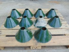 10 x Vintage Classic Military/Industrial Cone Style Pendant Light Shades.