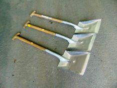 3 x T Handle Aluminium Shovels