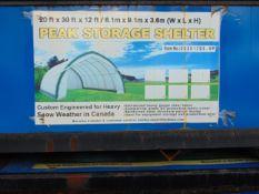 PEAK STORAGE SHELTER 20'W x 30'L x 12' H P/No 203012QX- 8P