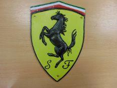FERRARI PRANSING HORSE GARAGE SIGN 29cms x 19cms