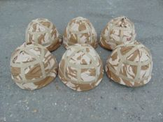 6 x British Army MK 6 Combat Helmets with desert covers