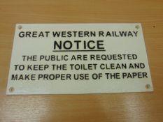 GREAT WESTERN CAST IRONRAILWAY SIGN