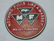 CAST IRON MASSEY FERGUSON SIGN 24cm diameter
