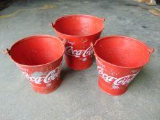 3 x Coca Cola Reproduction Ice Buckets