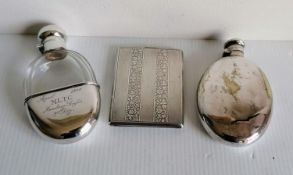A 19th century German silver 800 hip flask with screw cap, faceted decoration by Wilhelm Binder,