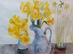 Edward Bawden RA (1903-1989) DAFFODILS, pencil and watercolour, signed bottom right in pencil, in