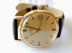 A vintage Longines manual gent's 9ct gold-cased watch with replacement strap, gilt dial 32mm,
