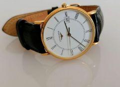 A Longines 18ct gold-cased quartz wrist watch, white dial, Roman numerals, date aperture, inner