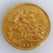 An Edwardian gold half-sovereign, 1909
