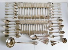 A Victorian London silver fiddle-pattern service in the Hanoverian style, crested, comprising: a