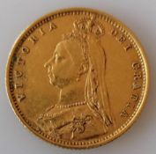 A Victorian shield-back gold half-sovereign, 1890