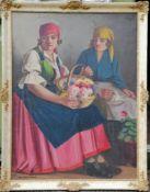Istvan Szasz (Hungarian, 1878-1965), THE BASKET OF FLOWERS, oil on canvas, framed 96 x 63 cm, signed