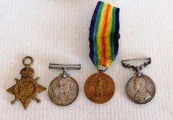 WW1 1/Hampshire Meritorious Service Medal Group of Four, 1914 Star, 1914-19818 MEDAL, GREAT WAR 14-