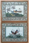 Two 19th century Chinese watercolours on paper of birds with allegorical border depictions in