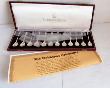 A cased set of twelve silver spoons, The Tichborne Celebrities, London, 1978 with booklet, 264g