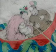 Elyse Ashe Lord RI (1900-1971) FIGURES IN BOAT, drypoint etching with woodblock colouring, framed
