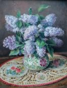 Indistinctly signed, Collis (?), STILL LIFE OF FLOWERS, oil on board, signed and dated bottom right,