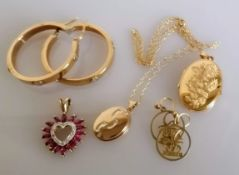 Two pairs of earrings, two lockets, one with chain, engraved and a garnet pendant, all hallmarked or