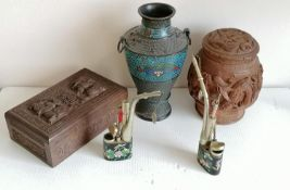 An early 20th century carved Chinese wooden cigarette box, 19 cm W; a tobacco jar, both with