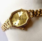 A mid-20th century ladies quartz dress watch with 9ct yellow gold strap and case by H. Samuel,