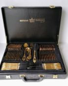 Two cased Solingen chrome nickel steel canteens of cutlery covered in 23/24 ct gold, settings for