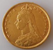 A Victorian shield-back gold half-sovereign, 1892