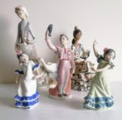 A group of five Lladro figurines to include a flamenco dancer, blue printed mark, 2170, 25.5cm; girl