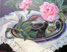 Margaret Ballantyne, (b. 1936, Scottish) SILVER AND PINK, oil on canvas, glass fronted, 60 x 52