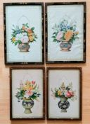 Two pairs of Oriental 19th century watercolour still lives of flowers in baskets on paper, framed,
