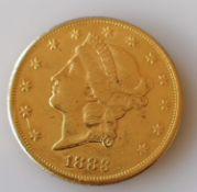A USA liberty head, double eagle twenty dollar gold coin, 1883, S mint, 33.44g