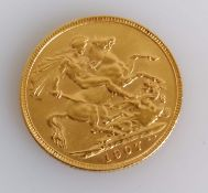 An Edwardian gold full-sovereign, 1907