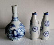 A 19th century white-ground Oriental bottle vase with allegorical scene in cobalt blue, double