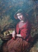 Attributed to Edward John Cobbett (1815-1899), THREE QUARTER PORTRAIT WITH APPLES, oil on board in